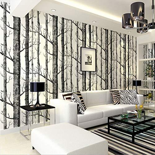 LYC behanglijm zwart en wit Niet geweven behang berken bos boom takken patroon TV sofa achtergrond muur 0,53 * 10m1 / rol BZ0903
