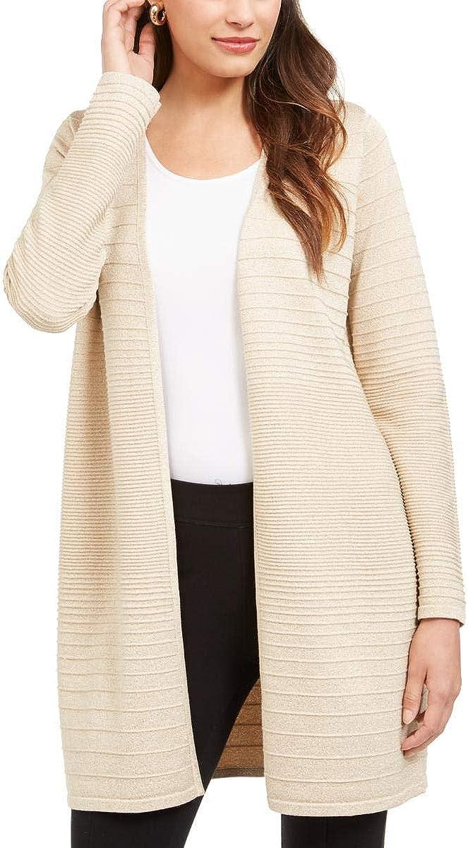 Alfani Womens Metallic Midi Cardigan Sweater