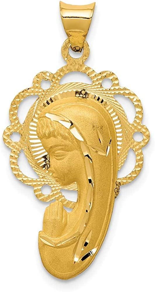 14k Yellow Gold Mary Free shipping anywhere in the nation Pendant Bles Necklace Medal Charm Religious Bombing new work