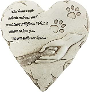 jinhuoba New York Dog Memorial Stone, Hand-Printed Heart-Shaped Personalized Loss of Pet Gifts Dog with Sympathy Poem and Paw in Hand Design, (White)