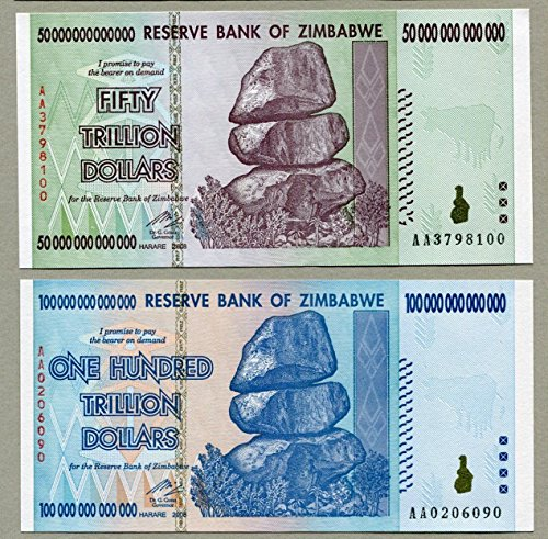Trillion Dollar Pair Zimbabwe - 50 Trillion & 100 Trillion Dollar Notes by Shipodin