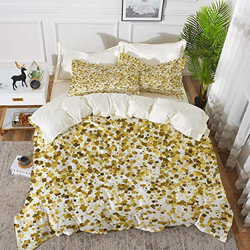 3 Piece Bedding Set,Gold and White,Party Celebration Themed Confetti Like Squares Abstract Ombre Image Decorative,Yellow and White,1 Duvet Cover Set135 x 200,2 pillowcase 50x80cm