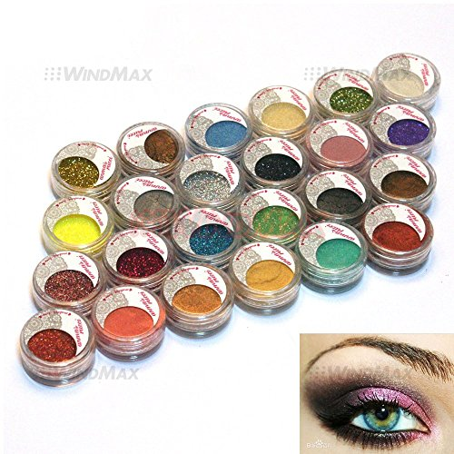 USA Seller 24 Warm Smoked Metals Color Glitter Shimmer Pearl Loose Eyeshadow Eyeliner Pigments Mineral Eye Shadow Dust Powder Makeup Party Cosmetic Set #D