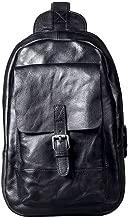 LHQ-hand bags Vintage Suede Leather Chest Bag Shoulder Messenger Bag Chest Backpack (Color : Black)