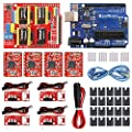 KeeYees Professional 3D Printer CNC Kit with E-Tutorial - CNC Shield Expansion Board V3.0 R3 Board A4988 Stepper Motor Driver DC Power Cable Mechanical Switch Endstop with Jumper caps