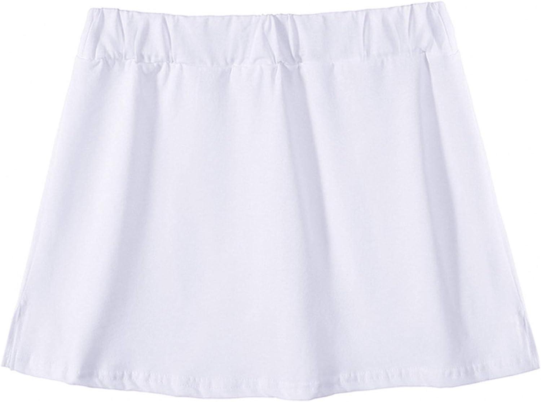 Women Girls Girl Short High Waist Pleated Casual Skater Tennis Skirt, Mini Skirt Solid Ruffle Lingerie Skirts (White, One Size)