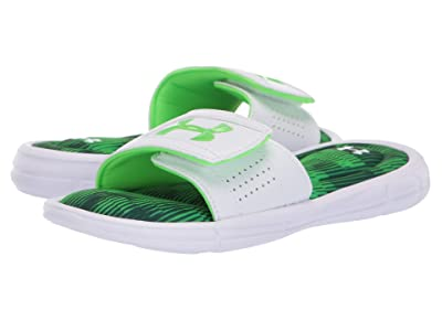 Under Armour Kids UA Ignite Fleet V Slide (Little Kid/Big Kid) (White/Batik/Zap Green) Boys Shoes