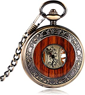 Montre de poche mécanique vintage - Chiffres romains, gravures de fleurs et cadran en bois - Avec pendentif