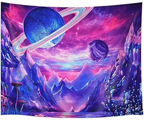 Tapiz Pared Psychedelic Galaxy Space, Trippy Mountain Forest Tree Tapices Para Colgar En La Pared, Tapices Tela Poliéster Para Decoración Del Hogar Del Dormitorio -51 'X59'
