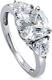 Rhodium Plated Sterling Silver Cushion Cut Cubic Zirconia CZ 3-Stone Anniversary Engagement Ring 3.84 CTW