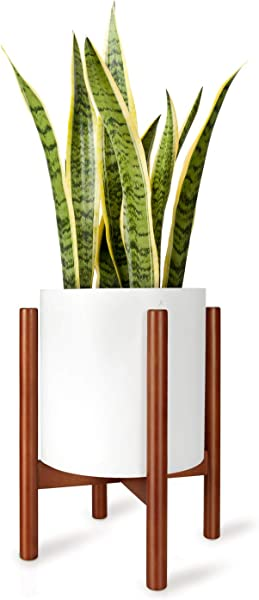 Mkono Plant Stand Mid Century Wood Flower Pot Holder Display Potted Rack Rustic Decor Up To 10 Inch Planter Plant And Pot NOT Included Brown