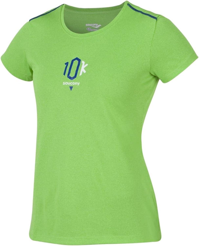 Saucony Women's 10K Milestone Short Sleeve Tee, Acid Green, Small