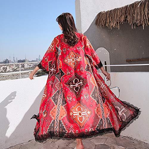 YYH Vrouwen Kimonos Vesten voor Vrouwen, Strand Zonnebrandcrème Lange Kimono & Kant Gehaakte Bloemenperspectief Cover Ups Strandkleding Eén maat 1 exemplaar