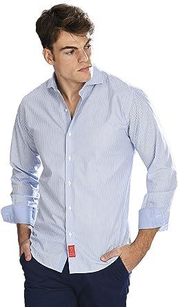 Camisa Manga Larga Azul Celeste de Vestir, semientallada con ...