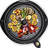 Elite Gourmet Large Indoor Electric Round PFOA-Free, Nonstick Grill Cool Touch Fast Heat Up Ideal Low-Fat Meals Easy to Clean Design Dishwasher Safe Includes Glass Lid, 14', Black