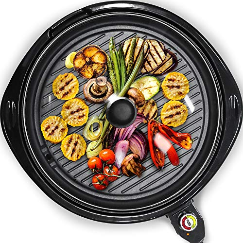 Elite Gourmet Smokeless Indoor Electric BBQ Grill with Glass Lid Dishwasher Safe, PFOA-Free Nonstick, Adjustable Temperature, Fast Heat Up, Low-Fat Meals Easy to Clean Design, 14', Black