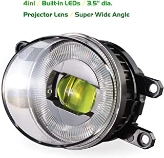 iCAR DIY Upgrade LED Projector Fog Light Assembly Kit 4IN1, DRL, Turn Signal Light for Toyota, Lexus, Yellow, 1 Pair