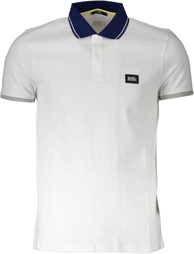 Karl lagerfeld polo basic,maglietta da uomo,95% cotone,5% elastan Art KL20MPL011