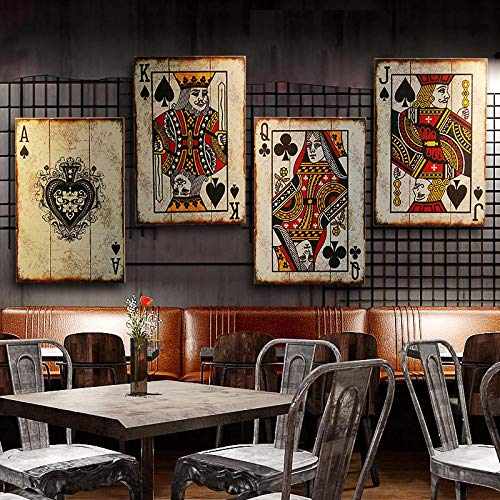 VVSUN American Loft Mahjong Naipes Tablero de Pintura Bar Internet Café Restaurante Decoración de la Pared Pintura Cartel de la Pared Regalo 40x60cmx4pcs-Sin Marco