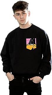 Looney Tunes Men's Daffy Duck Face Faux Pocket Sweatshirt