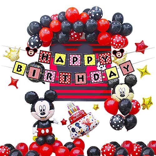 Decoraciones de Cumpleaños de Mickey Mouse,Artículos para la Fiesta de Minnie Mouse,Pancarta de Feliz Cumpleaños,Globos y Adornos para Tartas para Cumpleaños,Baby Shower
