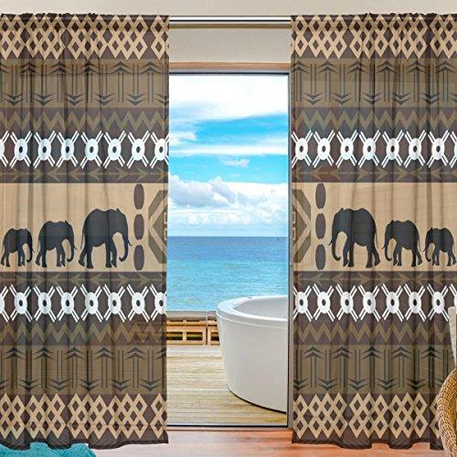 Fenster Vorhänge, Gardinen Platten Fenster Behandlung Set Voile Drapes Tüll Vorhänge Ethnische Stil Elefant Muster 2 Einsätze für Wohnzimmer Schlafzimmer Girl 's Room,140cm x 198cm