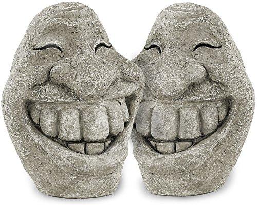 Royal Gardineer Skulptur: Steingesicht Smiley im freundlichen 2er-Set, 21 cm hoch (Gartendekos)
