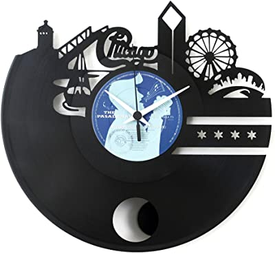 Chicago Clock Chicago skyline clock Wall clock Vinyl clock with pendulum Black color Original Vinyluse Made