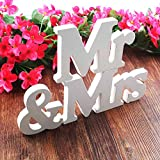 BESTZY Mr & Mrs Wooden Letters Wedding Decoration/Present Madera Letras Decorativas Blancas Palabras Boda Decoración/Regalo