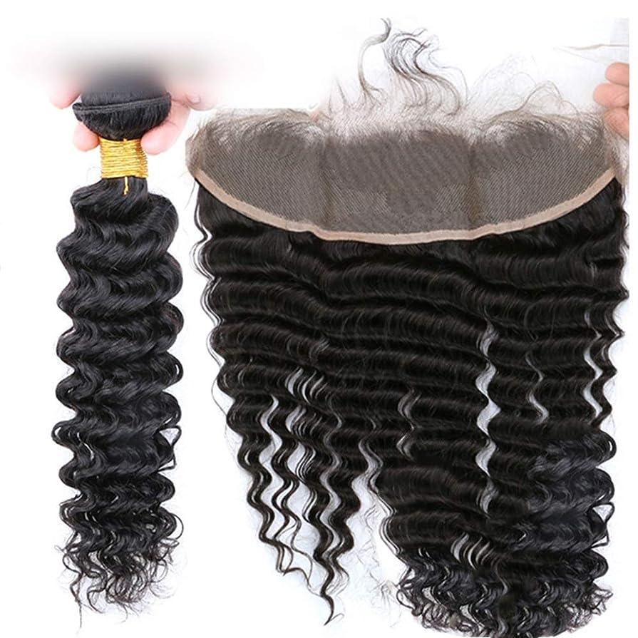 本気同一の賞賛するBOBIDYEE 13 * 4ヘアピースディープウェーブレース前頭閉鎖と人間の髪の毛の拡張子アフリカのかつらパーティーのかつら (色 : 黒, サイズ : 10 inch)