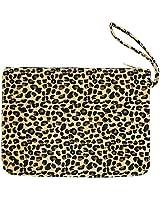 Me Plus Women's Clutch Pouch Wristlet Purse Bag Zipper Closure (2 Patterns) (Leopard-Beige)