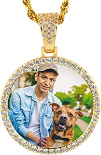 Double Side Picture Necklace for Men Women Iced Out AAA Crystal Personalized Photo Necklace Custom Chain with Free Rope