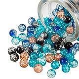 PandaHall 200 cuentas de cristal agrietado de 5 colores, 8 mm, redondas, hechas a mano, cuentas sueltas, para hornear, para hacer pulseras, collares, pendientes, joyería