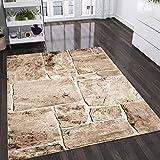 VIMODA Teppich Modern Stein Mauer Optik in Beige Braun, Maße:120 x 170 cm