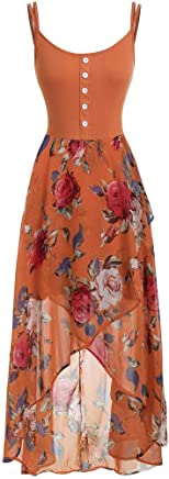 Xavigio Womens Summer Dresses Plus Size Spaghetti Strap Sleeveless Floral Print Patchwork High Low Flared Swing Dress