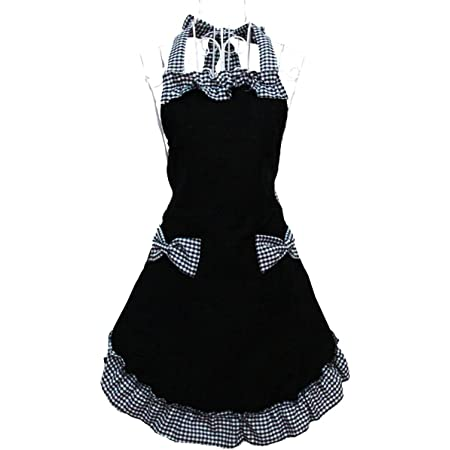 Hyzrz Cute Retro Lovely Vintage Ladies Kitchen Flirty Vintage Aprons for Women Girls with Pockets for Mothers Day Gift