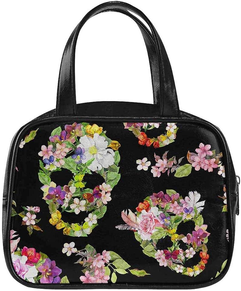 InterestPrint Women's Fashion Top Handle Handbags Floral Skulls Tote Purse Shoulder Bag