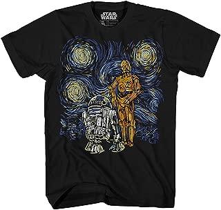 T Shirt Men's Starry Night Droid R2-D2 C-3PO Men's Graphic Tee
