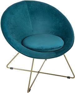 ATMOSPHERA Sessel, Velours, Blau und Metallfüße, goldfarben