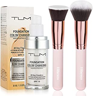 TLM Colour Changing Foundation,TLM Foundation Color Changing Foundation Brush Powder Brush Self Adjusting Warm Skin Foundation Makeup Base Face Moisturizing Liquid Cover Concealer SPF 15 Hilareco