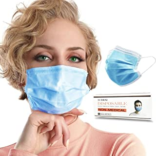 Face Masks, LUXSENZ 3 Pleat Face Covers with Elastic Ear Hook, 50 Units, Blue