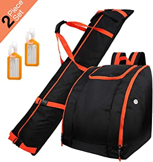 Zacro Ski Bag & Boot Bag - Waterproof Skiing Bag Combo with 2 Luggage Tag, Store & Transport Skis Up to 195 cm, Excellent for Travel for Men, Women and Youth