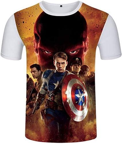 T-Shirt pour Hommes, Impression 3D Avengers League, Marvel Heroes , été Manche Courte Captain America D-S