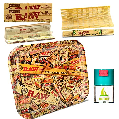 Kit para fumar Raw bandeja para liar Cone 27,5cm x 17,5cm + RAW Organic Kings Size (3 unidades) + Bote antiolor + RAW Liadora de Bambú - Pack dirigido a tabaco de liar