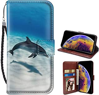 SoLucky iPhone Xr Wallet Case Dolphin PU Leather with Kickstand and Card Slots, Wrist Strap Flip Case for iPhone Xr, 1Pack