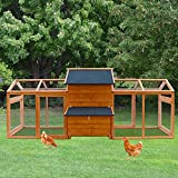 Kinbor Extra Large Wooden Chicken Coop Rabbit Bunny Hutch with Large Run Area, Hen House Poultry Cage with Removable Tray and Ramp