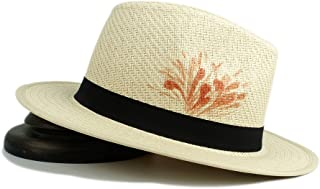 Casual Hat Hat 100% Straw Women Fashion Sun Hat Lady Fedora Hand-Painted Flower Beach Panama Hat Sun Hat (Color : Natural, Size : 56-58CM)