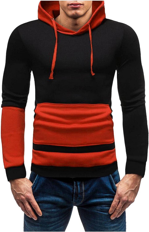 Aayomet Men's Hoodies Sweatshirts Color Block Pacthwork Tops Long Sleeve Athletic Hooded Pullover Blouses Sweaters for Men