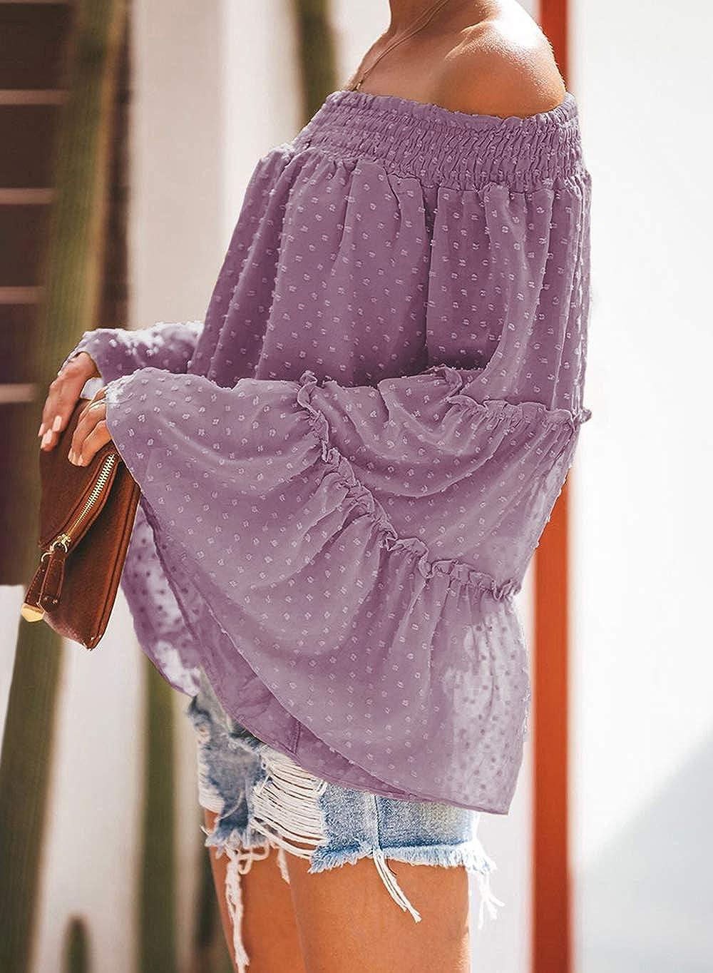KIRUNDO 2021 Women/'s Spring Summer Chiffon Blouse Off Shoulder Swiss Dot 3//4 Bell Sleeves Ruffle Tunic Top