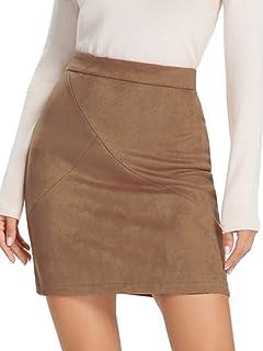 Simplee Women's High Waist Faux Suede Mini Bodycon Skirt